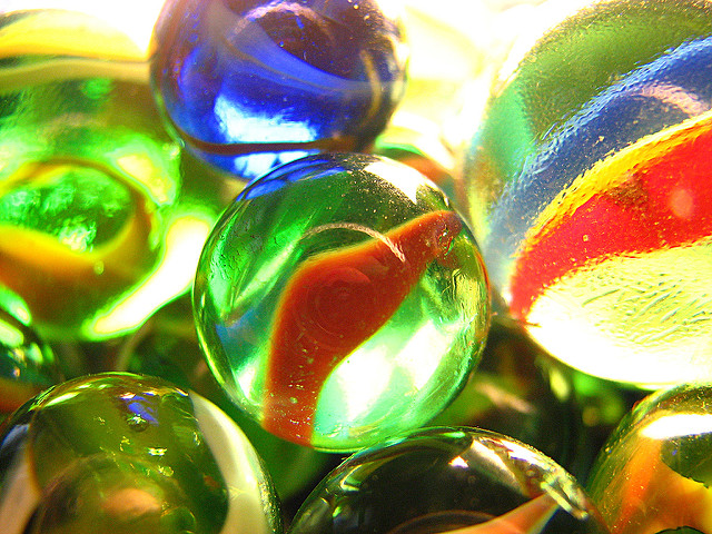 Close-up of colorful marbles.