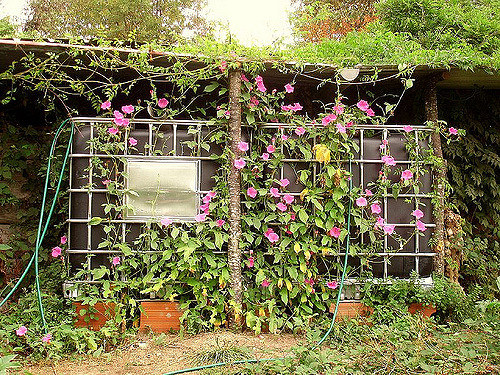 Large vertical garden made from hardware cloth frame with pink flowers growing in it.